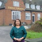 Valerie at the Three Crowns Pub site