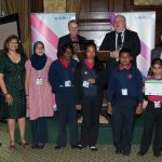 Valerie Vaz and students from Palfrey Junior School