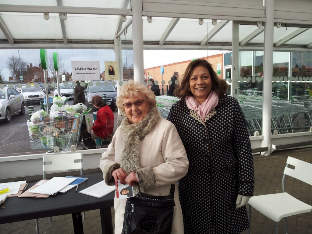 Valerie with constituent Minnie Cooper