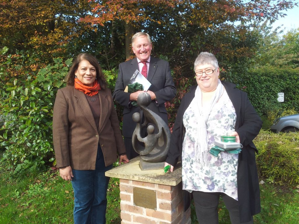 Valerie with Acorn's Chief Executive David Strudley and Head of Care Anne Small