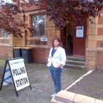 Valerie at a Walsall polling station for 2014 local and euro elections