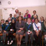 Valerie with the children from Whitehall Junior Community School
