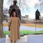 Valerie with Gandhi Statue