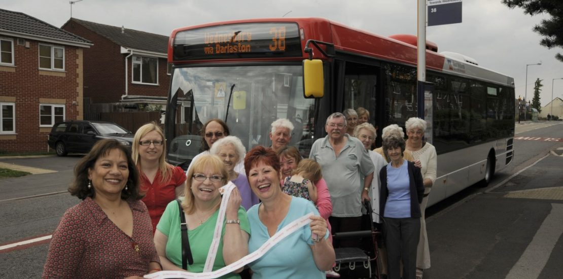 Valerie at the launch of the 38 Bus Service.