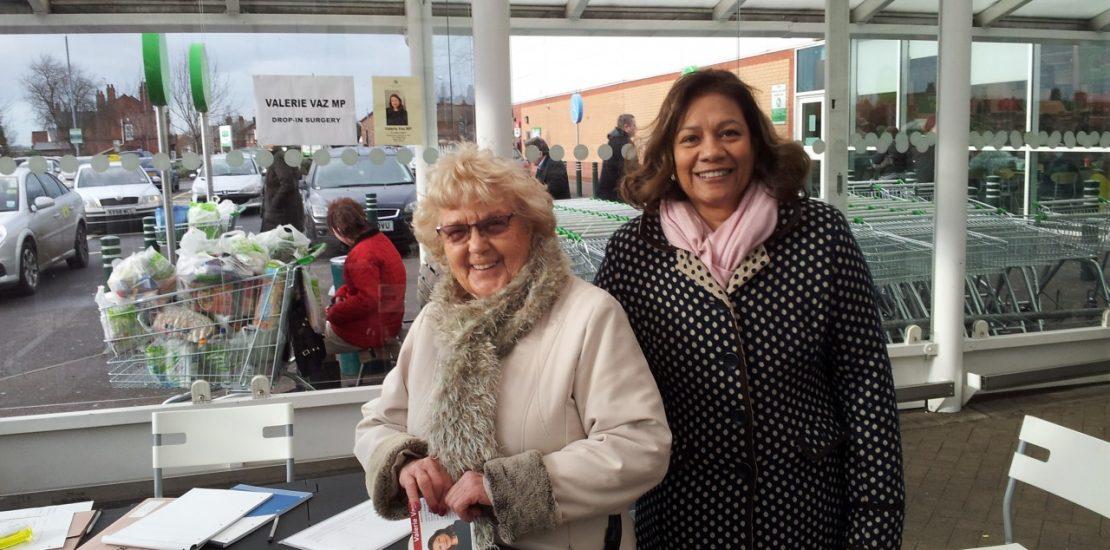 Valerie with constituent Minnie Cooper