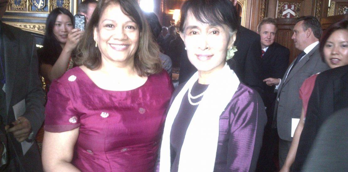 Valerie with Aung San Suu Kyi