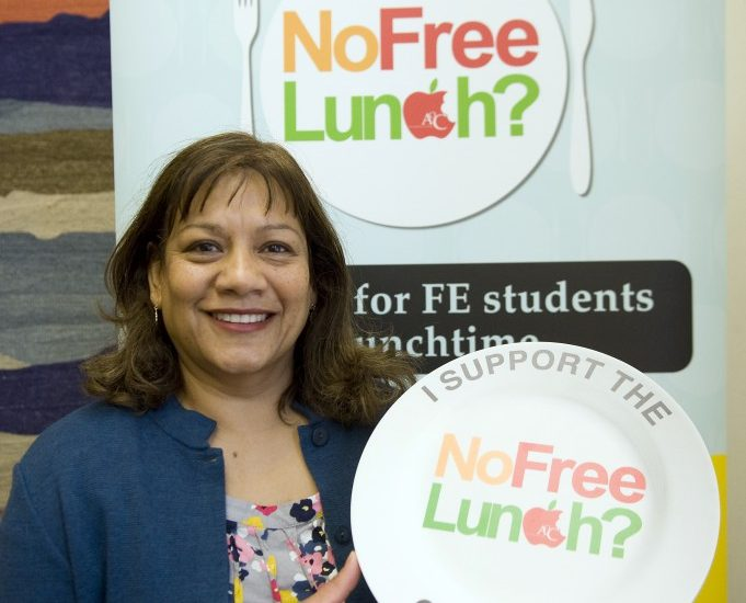 Valerie at the No Free Lunch? Campaign.
