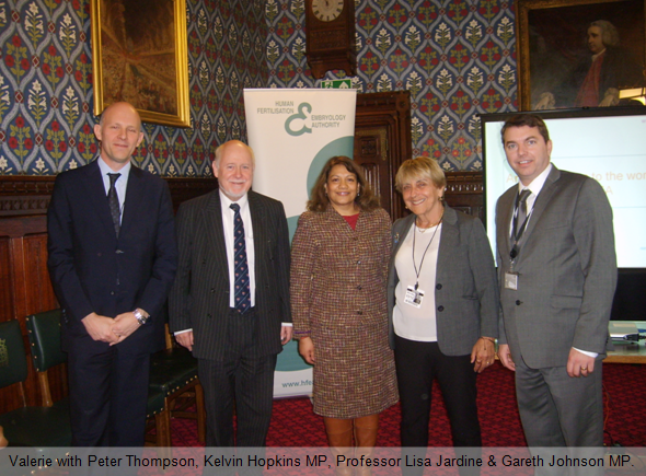 Valerie with Peter Thompson, Kelvin Hopkins MP, Professor Lisa Jardine & Gareth Johnson MP.