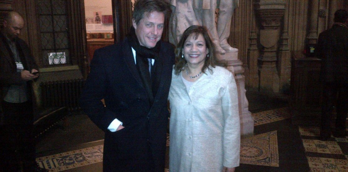Valerie with Hugh Grant.